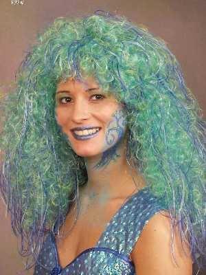 Nixe Meerjungfrau Meermaid Perücke Karneval Fasching Kostüm