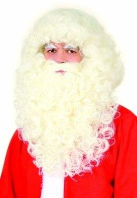 Nikolaus Weihnachtsmann Luxus Set Bart u. Perücke natur
