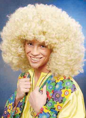 Afroperücke Afro Look Super blond 70er Jahre Mottoparty