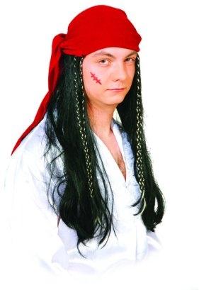 Pirat Piratin Seeräuber Tuch mit Haar Karneval Fasching