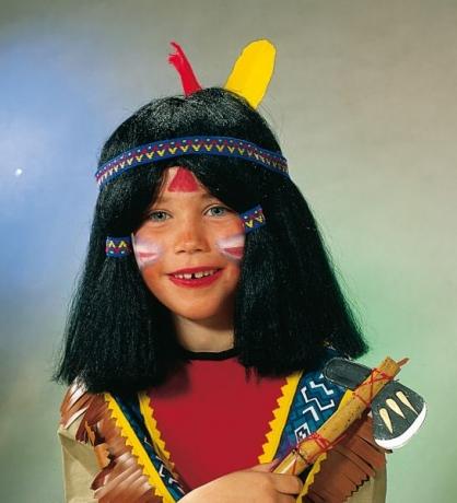 Schwarze Indianerperücke Perücke Kinderperücke Fasching