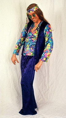 Hippie Kostüm 70er Jahre Schlagerparty Karneval 54 / 56