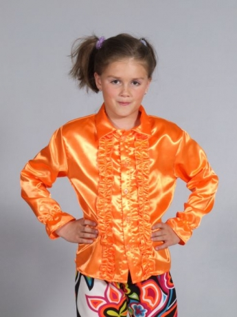 Hippie Hemd Satin orange, Flower Power, Travolta
