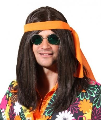 Hippie Mann braun mit Band 70er Jahre Mottoparty Hippieparty Schlagerp