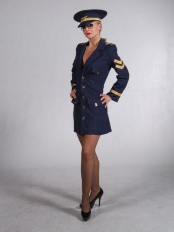 Sexy Piloten Dame Kleid Kostüm Fasching Karneval Motto