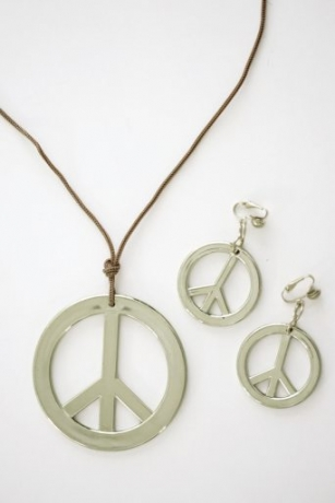 Peace Set Kette und Ohrringe Modeschmuck Hippie Karneva