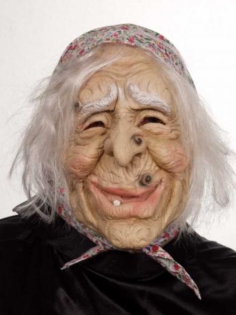 Hexenmaske Hexe mit Kopftuch und Haar Karneval Fasching Kostüme