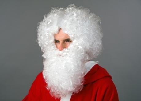 Nikolaus Weihnachtsmann Bart / Perücke im Set weiß