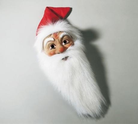 Weihnachtsmann Nikolaus Maske mit Plüschbart u. Mütze