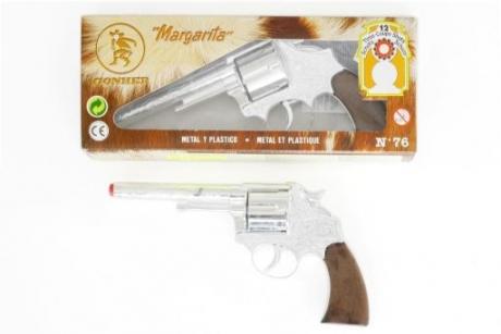 Pistole Metall 12-Schuss Fasching Karneval Mottoparty