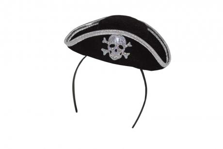 Piratin Mini Piratenhut mit Glitzer Dreispitz