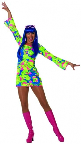 60er 70er Partykleid Schlager / Mottoparty Karneval Fasching Party