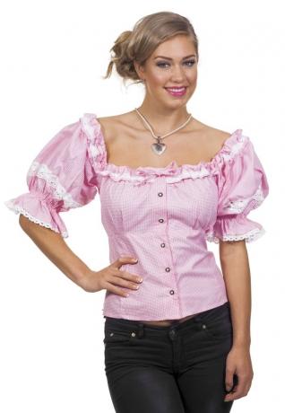 Trachtenbluse Karo Damentrachtenbluse Oktoberfest Wiesn rosa-kariert