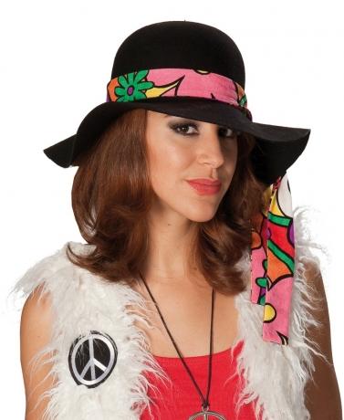 Schlapphut Hippiehut mit Kopfband schwarz Modehit 70er