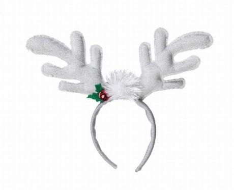 Rentier Elch Haarreif weiss Glitter Weihnachten Rudolph