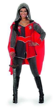 Ritterdame Gwen rot grau Mittelalter Burgfest Party Damenkostüm Faschi