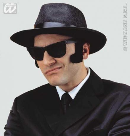 Blues Hut + Brille Gangster Ganove Bogart Mafia