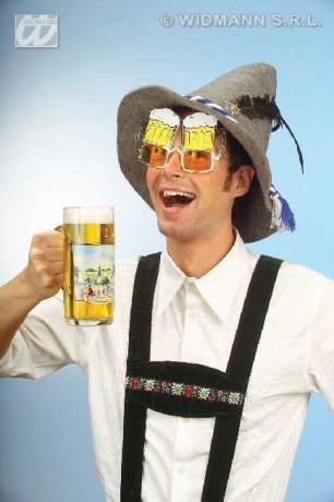 Bayer Seppl Hut mit Bierbrille Oktoberfest Party Spass