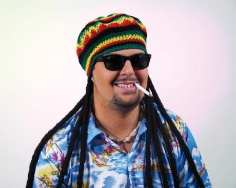 Jamaika Häkelmütze mit Rastazöpfen Karneval Fasching