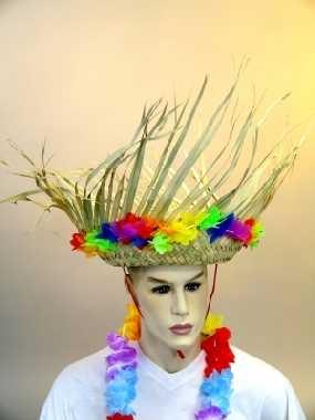 Südsee Strohhut Hawaii Blütenkette Karneval Party
