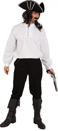 Weißes Piratenhemd mit Stehkragen Seeräuberhemd Freibeuter