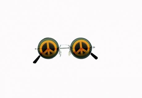 Nickelbrille Lennonbrille mit Peacezeichen Hippie 70er Jahre