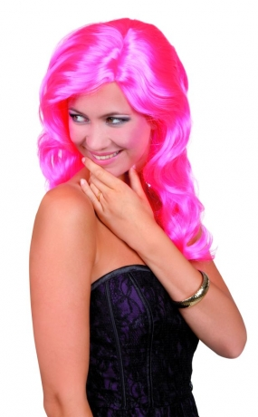Celebrity Damenperücke hot pink Langhaarperücke Partyperücke
