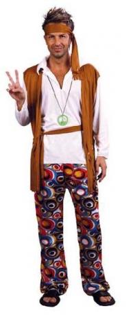 Hippie 60er 70er Jahre Kostüm + Peacezeichen Mottoparty