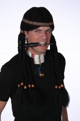 Indianer mit Zöpfen Herrenperücke Fasching Karneval
