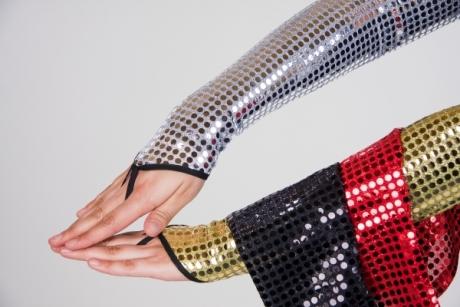 Paillettenhandschuhe silber gold rot schwarz