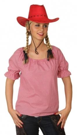 Bluse kariert rot weiß Damenbluse Oktoberfest Cowboy