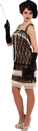 Charlestonkleid schwarz beige 20er Jahre Kostüm Damenkleid mit Fransen