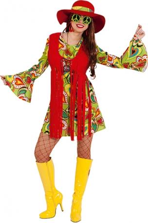 Hippiefrau Hippiekleid mit angenähter Weste 70er Jahre Kleid