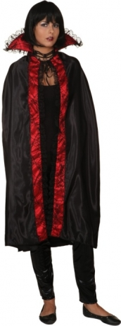 Umhang Cape mit Stehkragen Dracula Vampirin Halloween 2 Farben