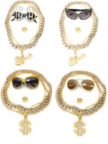 Babo Lude Macho Prolethen HipHop Bonzen Sets 4 bis 5 teilig Ketten Brille Ring
