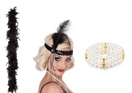 Charleston 20er Set Flapper Stirnband Federboa und Perlen Armband