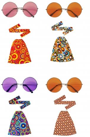 Hippie Set Stirnband Stulpen und große Brille 60er 70er Jahre Schlag