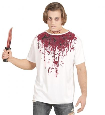 Horror Halloweenkostüm Blut-Shirt mit Halskette Blutstropfen