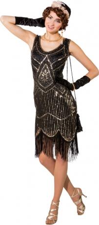 Pailetten Kleid 20er schwarz-silber Minikleid Damen Charleston