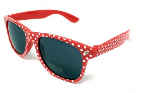 Polka-Dot Rockabilly Brille Sonnenbrille Accessoires rot weiß gepunktet 50er