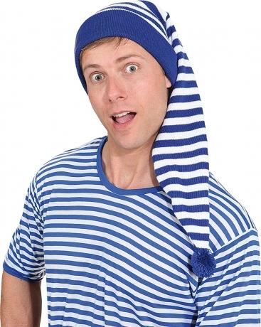 Ringelshirt mit Ringelmütze 2 teiliges Set Schlafmütze blau oder rot gestreift blau L