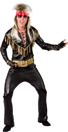Rocker 80s Herren Kostüm Gold Lametta Lack Leder Sänger Bandleader