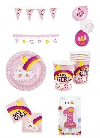 Set Baby erster Geburtstag Junge Mädchen Deko Teller Becher Baby Girl