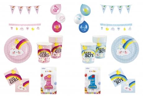 Set Baby erster Geburtstag Junge Mädchen Deko Teller Becher Ballons Girlande u.v