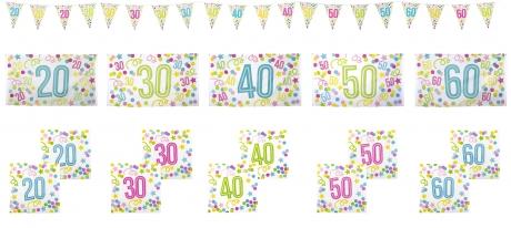Set Fahne Banner Girlande Servietten Geburtstag Deko 20 30 40 50 Jahre wählbar