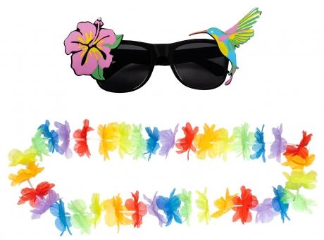 Set Hawaii Brille Cocktailbrille Blütenkette Strandparty Sommerparty