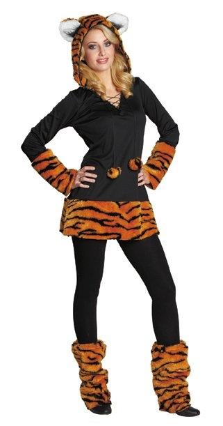 Tiger Kapuzenkleid Wildkatze Raubkatze Damenkostum Minikleid Fastnacht