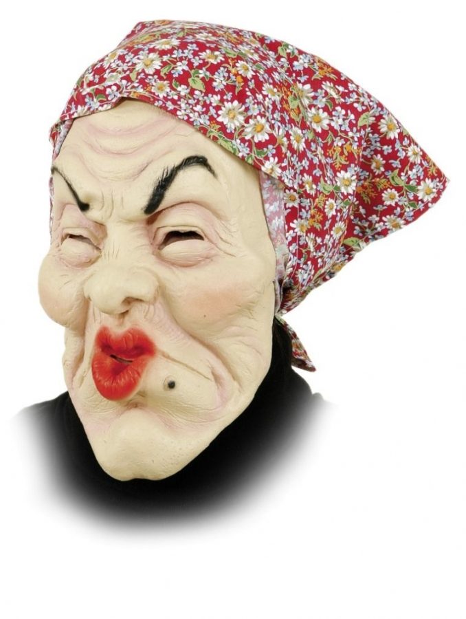 OPA oder OMA MASKE mit Perücke Greis Alter Mann Alte Frau Karneval Fasching