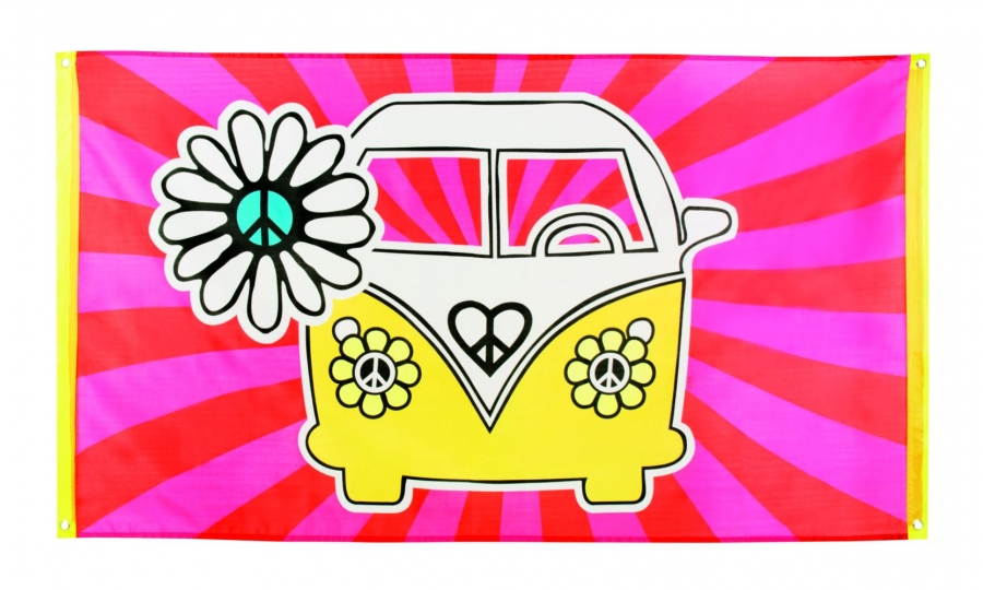 flower power mottoparty banner flagge vw bus 90cm x 150cm. Black Bedroom Furniture Sets. Home Design Ideas