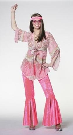 Hippie Retro 70er Jahre Kostum Frauen Schlager Mottoparty Karneval